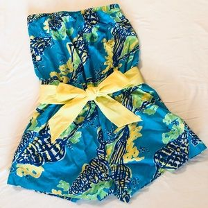 Lily Pulitzer strapless romper with yellow sash xs